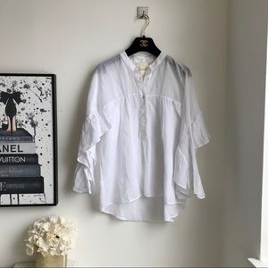 Anthropologie white ruffled blouse sz small